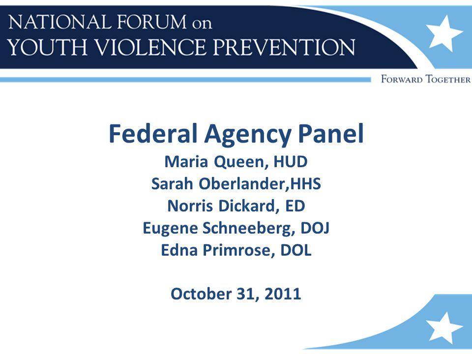 Federal Agency Panel Maria Queen, HUD Sarah Oberlander,HHS Norris Dickard, ED Eugene Schneeberg, DOJ Edna Primrose, DOL October 31, 2011