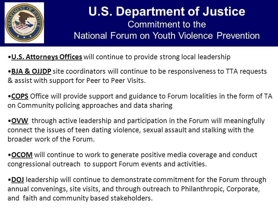 DOL - Support for the National Forum on Youth Violence Prevention U.S.