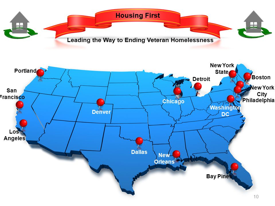 Housing First Leading the Way to Ending Veteran Homelessness Portland San Francisco Los Angeles Denver Dallas New Orleans Bay Pines Detroit Chicago Washington DC Boston New York City Philadelphia New York State 10