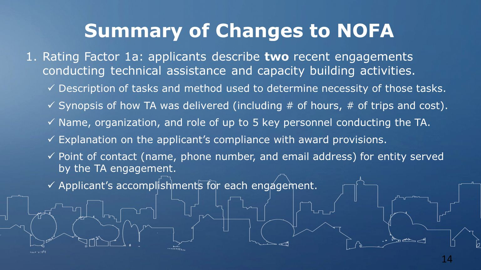 Summary of Changes to NOFA 1.Rating Factor 1a: applicants describe two recent engagements conducting technical assistance and capacity building activities.