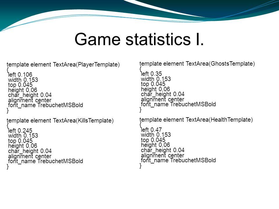 Game statistics I. template element TextArea(PlayerTemplate) { left 0.106 width 0.153 top 0.045 height 0.06 char_height 0.04 alignment center font_nam