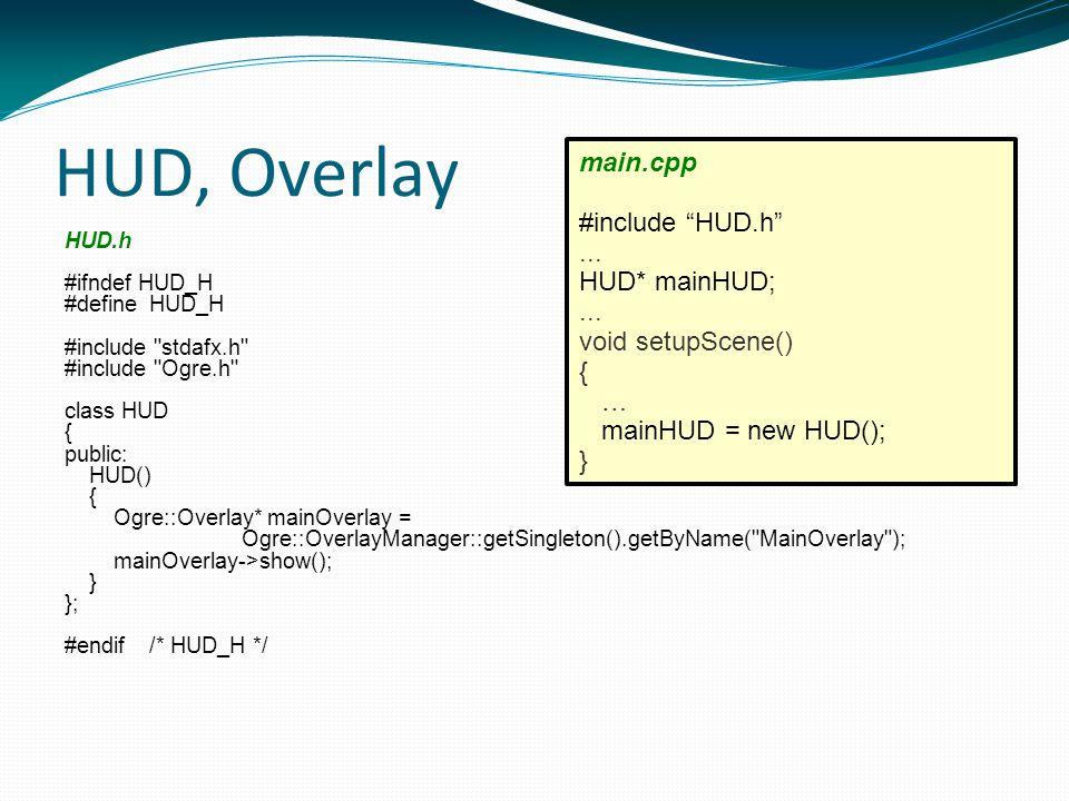 HUD, Overlay HUD.h #ifndef HUD_H #defineHUD_H #include