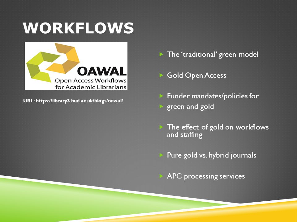 WORKFLOWS  The 'traditional' green model  Gold Open Access  Funder mandates/policies for  green and gold  The effect of gold on workflows and sta