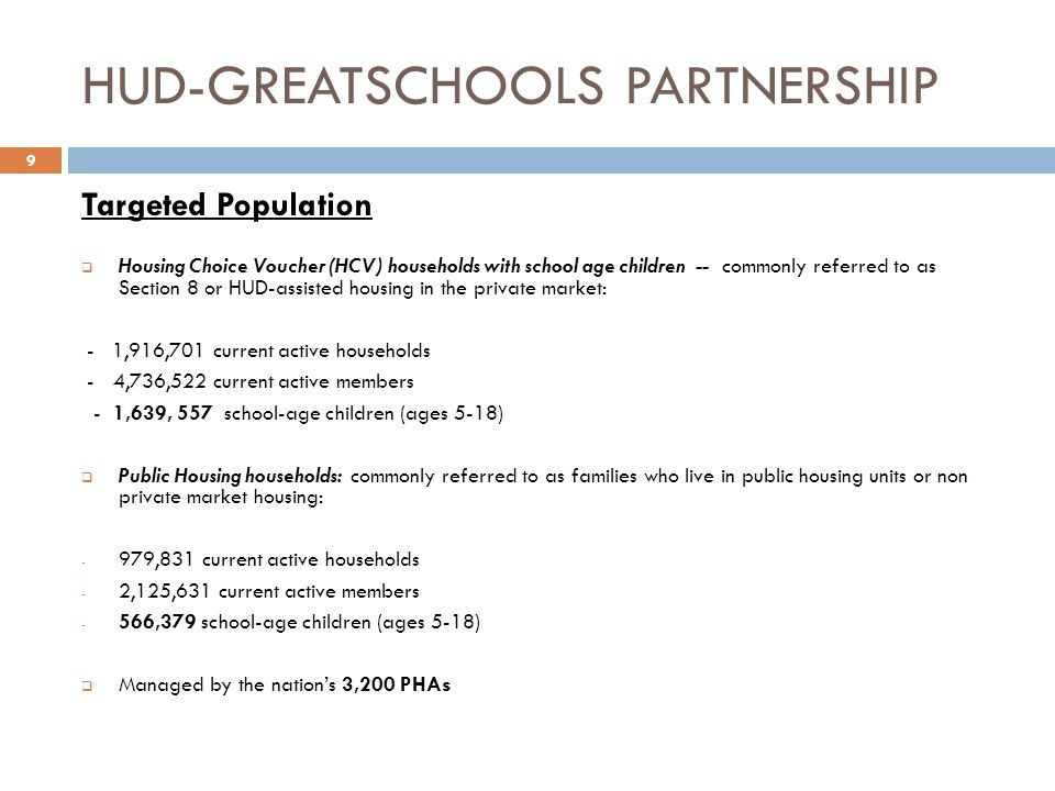 HUD-GREATSCHOOLS PARTNERSHIP Targeted Population  Housing Choice Voucher (HCV) households with school age children -- commonly referred to as Section 8 or HUD-assisted housing in the private market: - 1,916,701 current active households - 4,736,522 current active members - 1,639, 557 school-age children (ages 5-18)  Public Housing households: commonly referred to as families who live in public housing units or non private market housing: - 979,831 current active households - 2,125,631 current active members - 566,379 school-age children (ages 5-18)  Managed by the nation's 3,200 PHAs 9