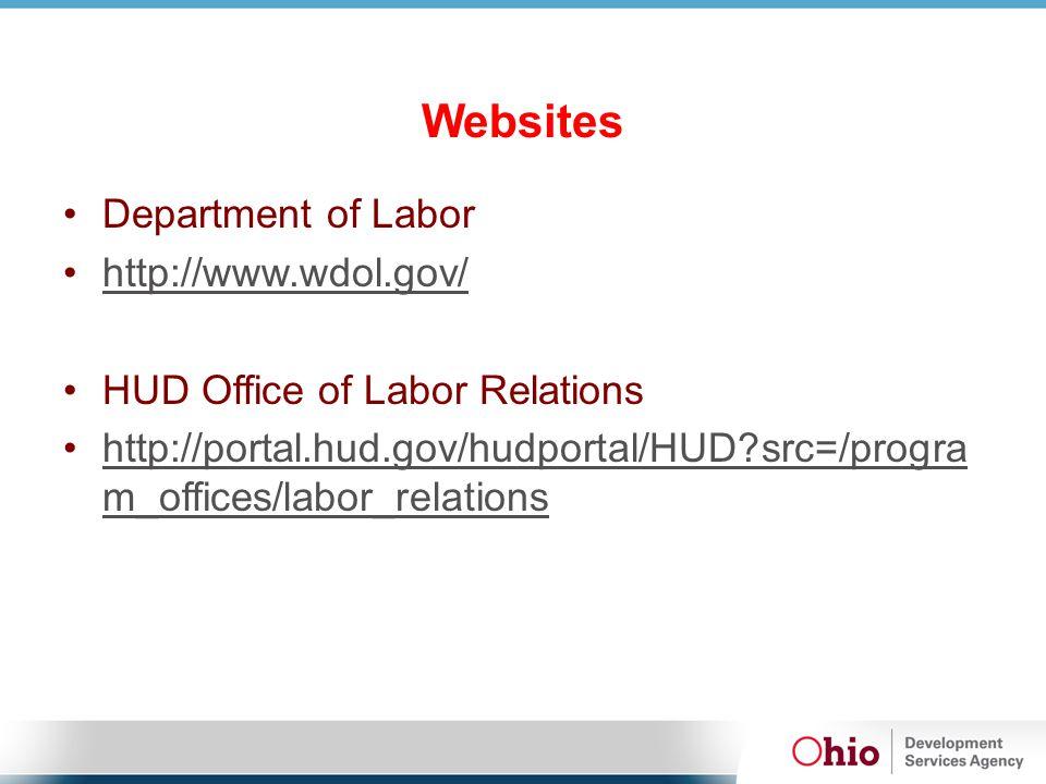 Websites Department of Labor http://www.wdol.gov/http://www.wdol.gov/ HUD Office of Labor Relations http://portal.hud.gov/hudportal/HUD?src=/progra m_