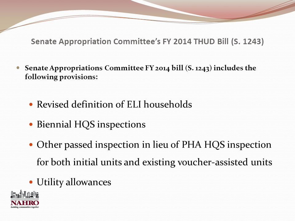 Senate Appropriation Committee's FY 2014 THUD Bill (S.