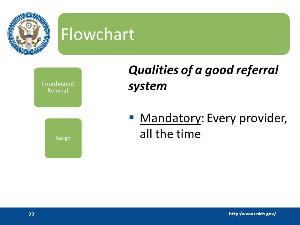 http:/www.usich.gov/ 27 Flowchart Qualities of a good referral system  Mandatory: Every provider, all the time Coordinated Referral Assign