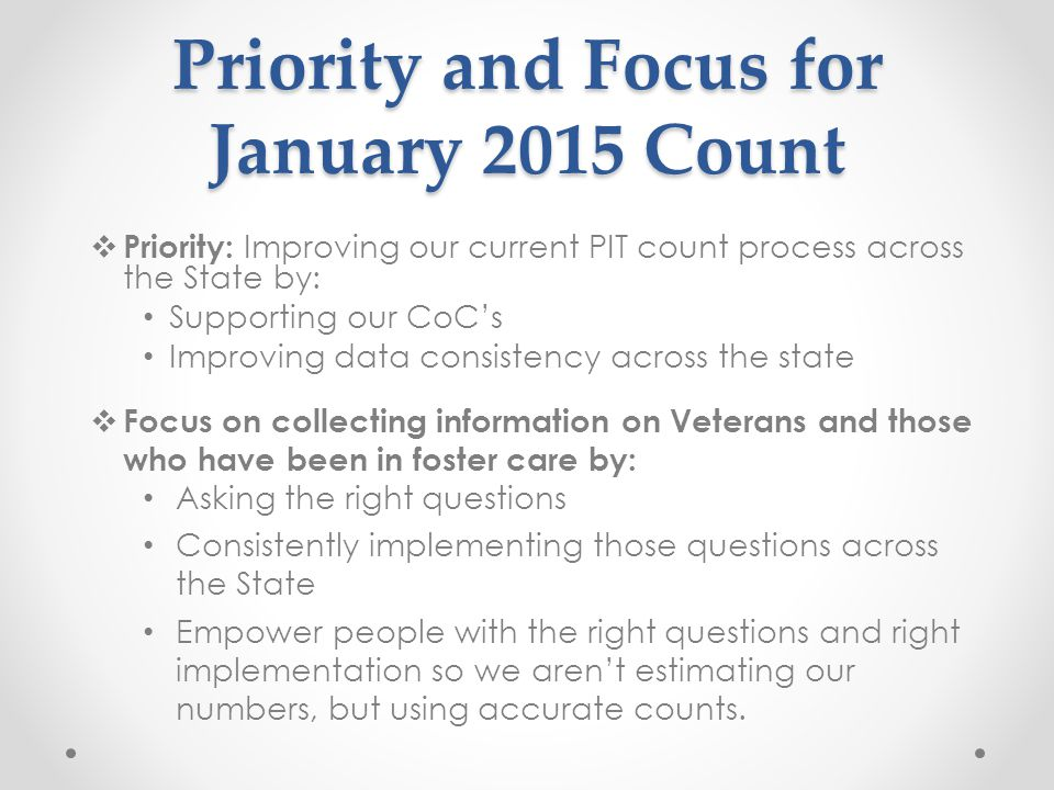 2015 Focus Questions Veterans (** the below questions are HUD questions currently in the unsheltered and sheltered PIT survey.