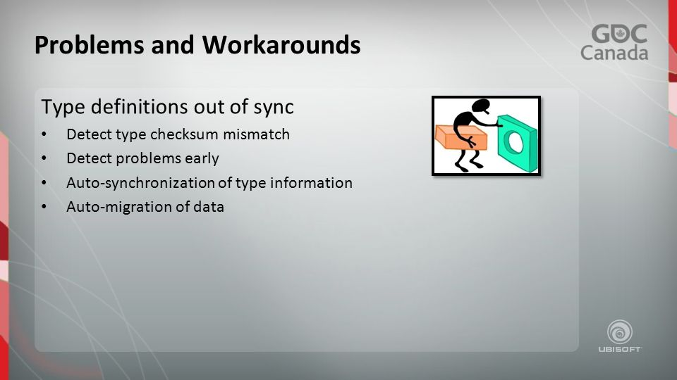 Type definitions out of sync Detect type checksum mismatch Detect problems early Auto-synchronization of type information Auto-migration of data Problems and Workarounds
