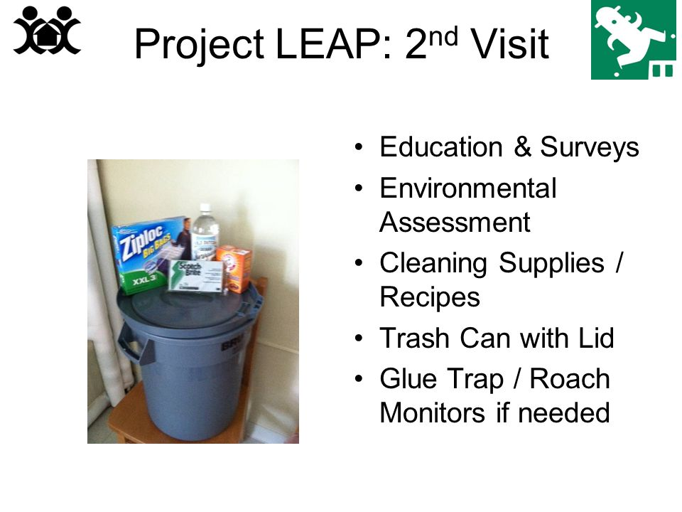 Project LEAP: 2 nd Visit Education & Surveys Environmental Assessment Cleaning Supplies / Recipes Trash Can with Lid Glue Trap / Roach Monitors if needed
