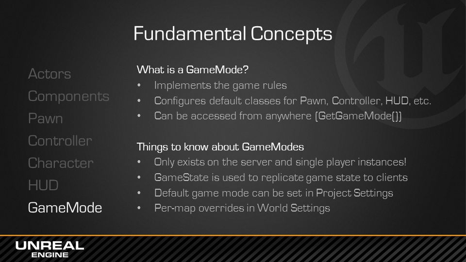 Fundamental Concepts Actors Components Pawn Controller Character HUD GameMode What is a GameMode? Implements the game rules Configures default classes