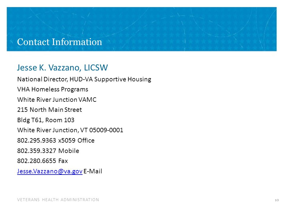 VETERANS HEALTH ADMINISTRATION Contact Information Jesse K.