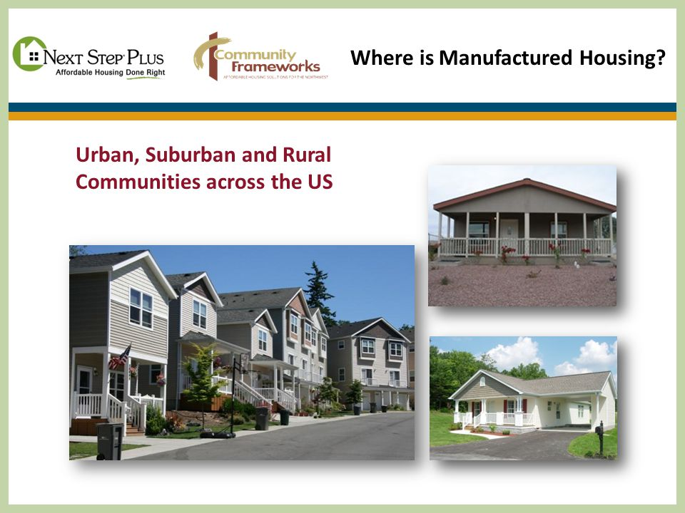 Urban, Suburban and Rural Communities across the US Where is Manufactured Housing