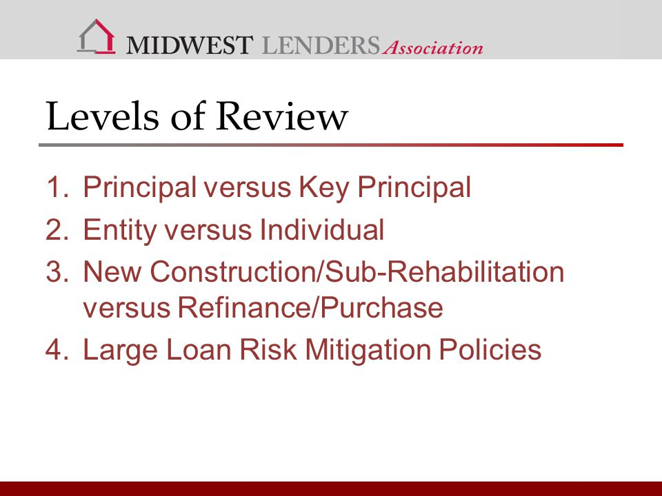 Levels of Review 1.Principal versus Key Principal 2.Entity versus Individual 3.New Construction/Sub-Rehabilitation versus Refinance/Purchase 4.Large Loan Risk Mitigation Policies