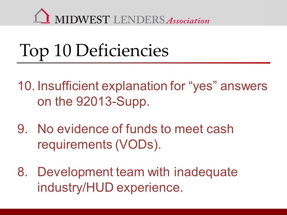 Top 10 Deficiencies 10.Insufficient explanation for yes answers on the 92013-Supp.