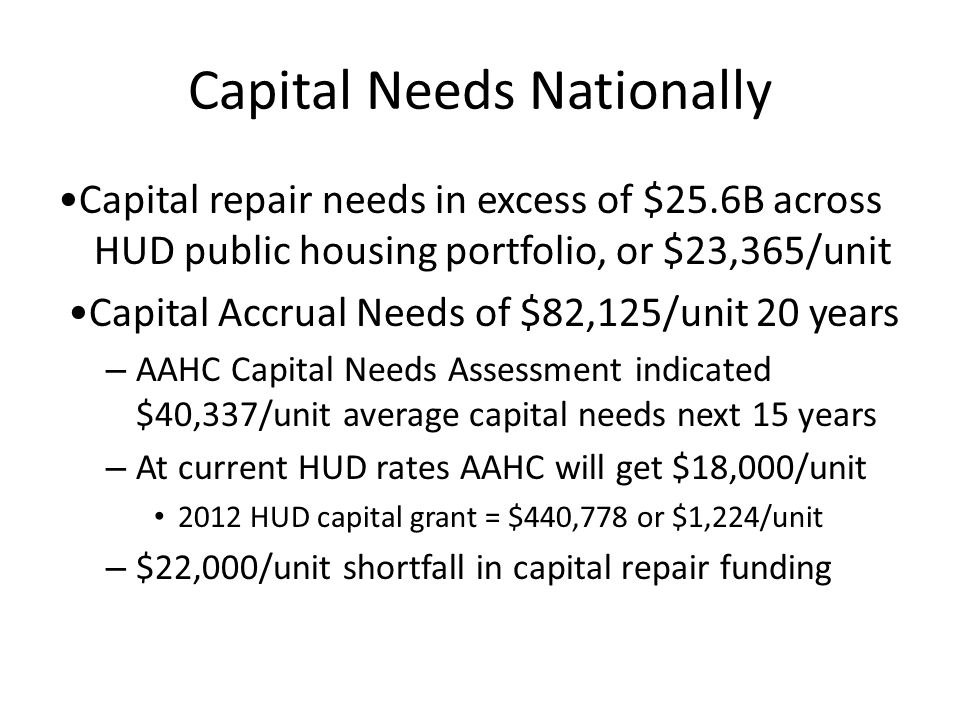 Capital Needs Nationally Capital repair needs in excess of $25.6B across HUD public housing portfolio, or $23,365/unit Capital Accrual Needs of $82,125/unit 20 years – AAHC Capital Needs Assessment indicated $40,337/unit average capital needs next 15 years – At current HUD rates AAHC will get $18,000/unit 2012 HUD capital grant = $440,778 or $1,224/unit – $22,000/unit shortfall in capital repair funding