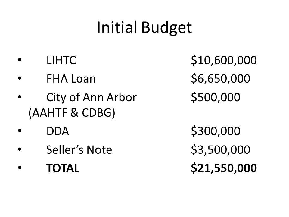 Initial Budget LIHTC$10,600,000 FHA Loan$6,650,000 City of Ann Arbor$500,000 (AAHTF & CDBG) DDA$300,000 Seller's Note$3,500,000 TOTAL$21,550,000
