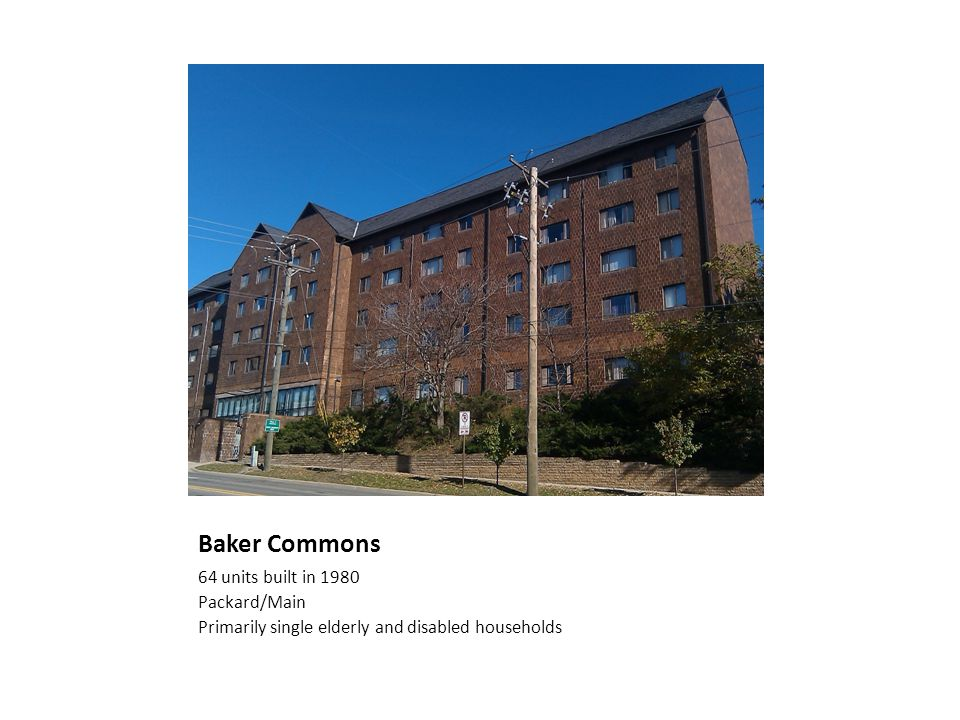 Baker Commons 64 units built in 1980 Packard/Main Primarily single elderly and disabled households