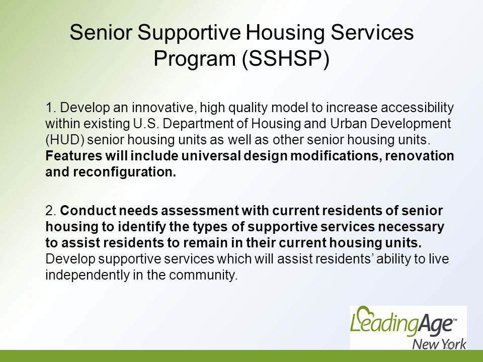 Senior Supportive Housing Services Program (SSHSP) 1.