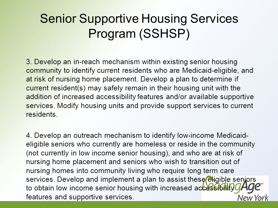 Senior Supportive Housing Services Program (SSHSP) 3.