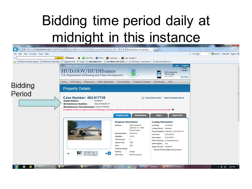 Bidding time period daily at midnight in this instance Bidding Period