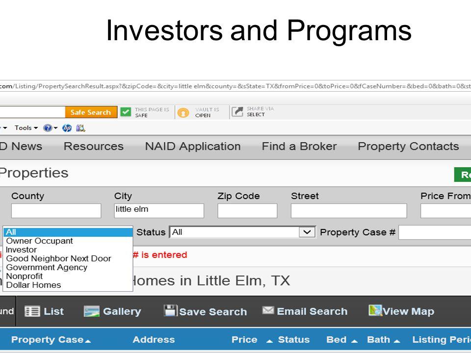 Investors and Programs