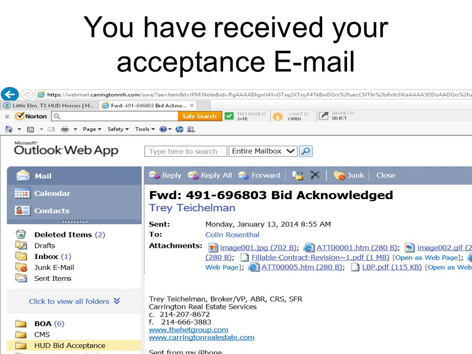 You have received your acceptance E-mail