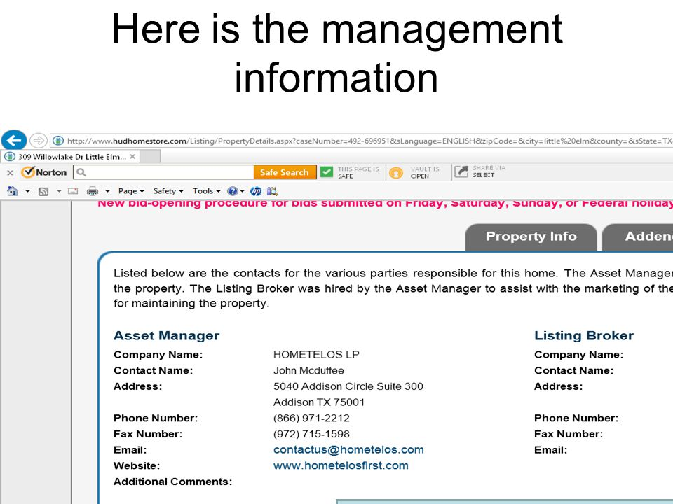 Here is the management information