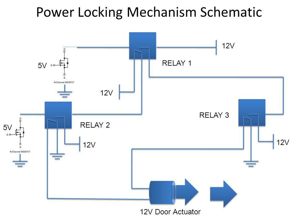 Power Locking Mechanism Schematic 12V Door Actuator 12V 5V RELAY 1 RELAY 3 RELAY 2