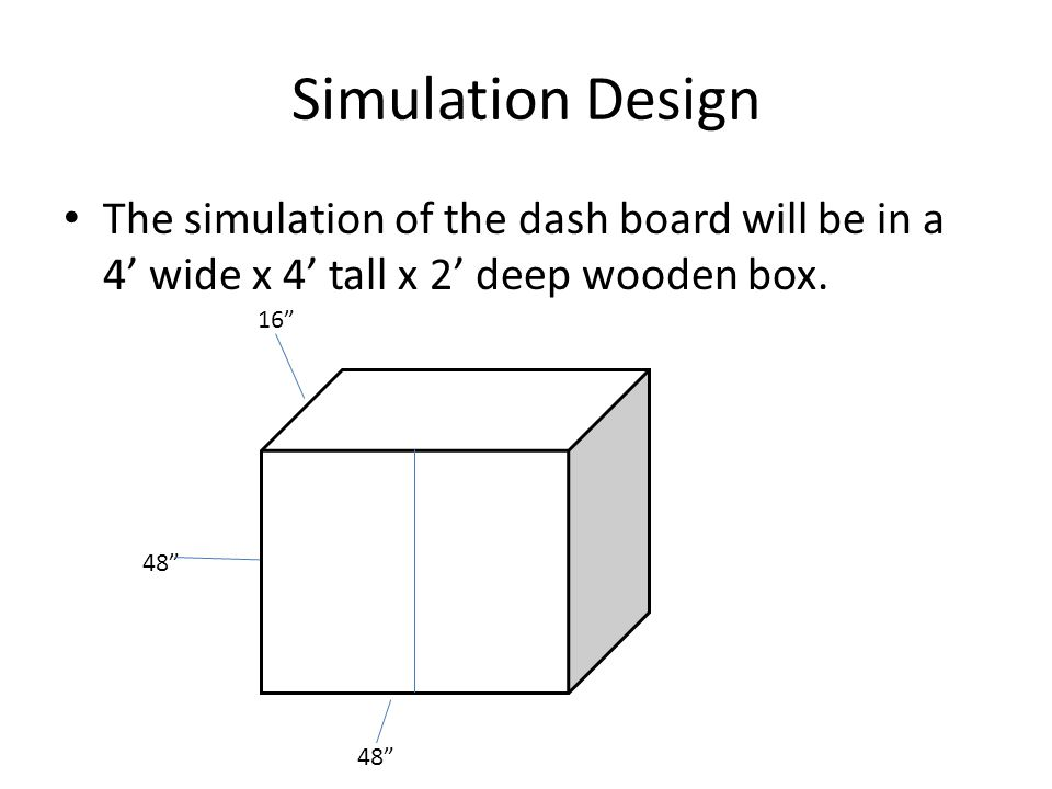 "Simulation Design The simulation of the dash board will be in a 4' wide x 4' tall x 2' deep wooden box. 48"" 16"""