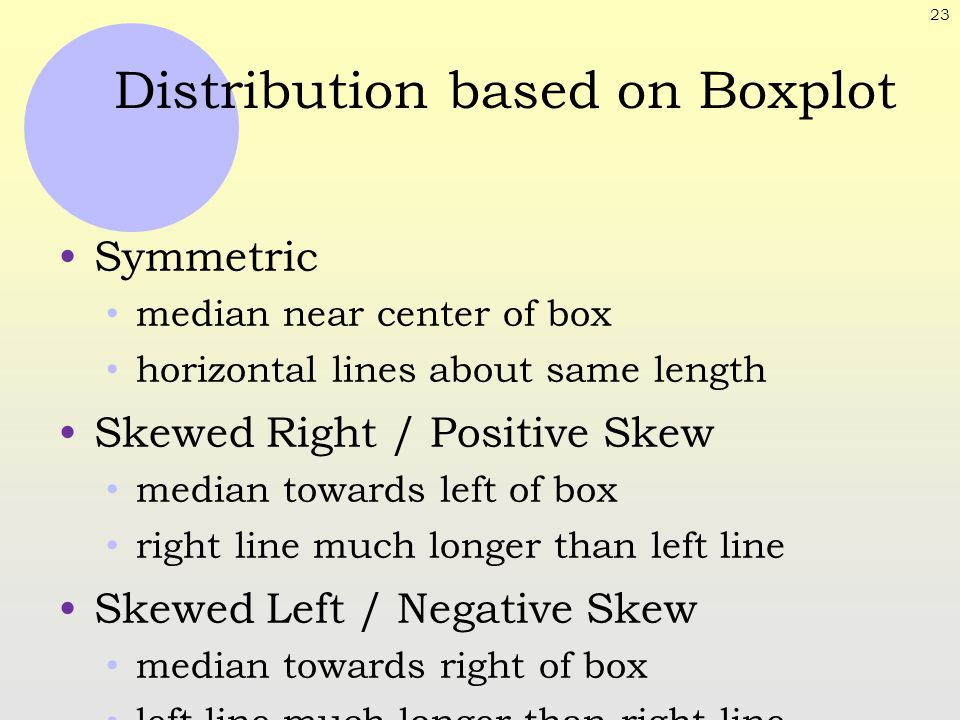 23 Distribution based on Boxplot Symmetric median near center of box horizontal lines about same length Skewed Right / Positive Skew median towards le