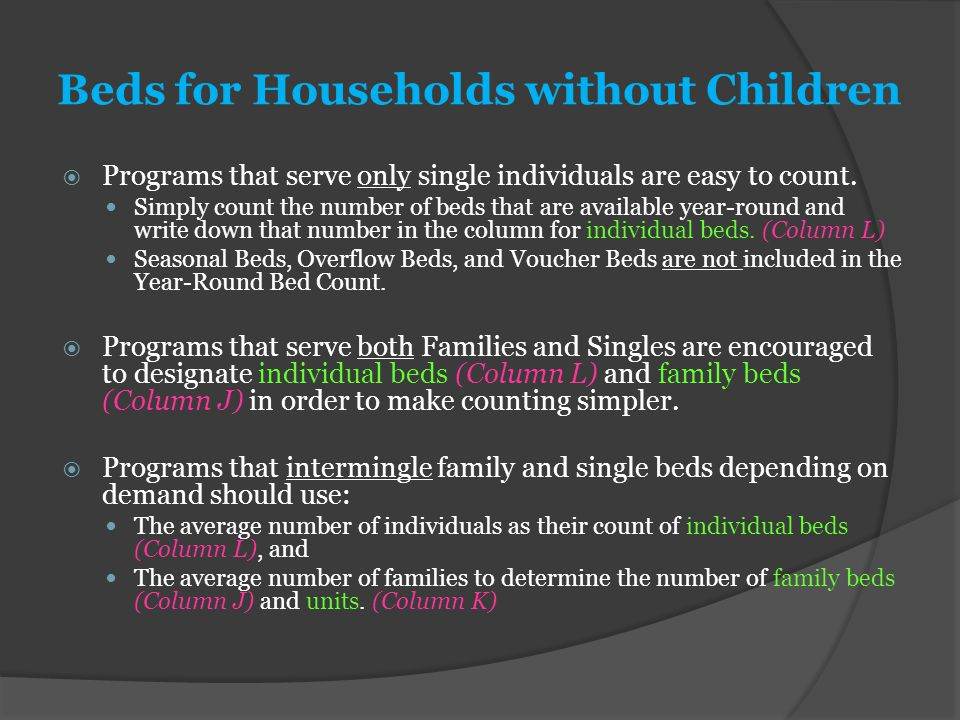 Beds for Households without Children  Programs that serve only single individuals are easy to count. Simply count the number of beds that are availab