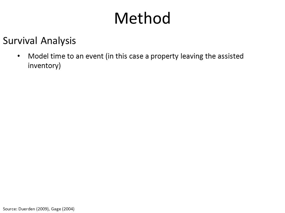 Method Model time to an event (in this case a property leaving the assisted inventory) Defines the probability of surviving longer than time t Survival Analysis Source: Duerden (2009), Gage (2004)