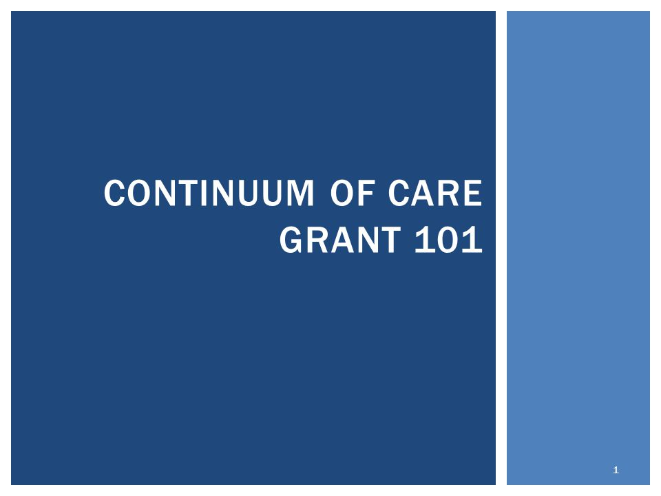 CONTINUUM OF CARE GRANT 101 1