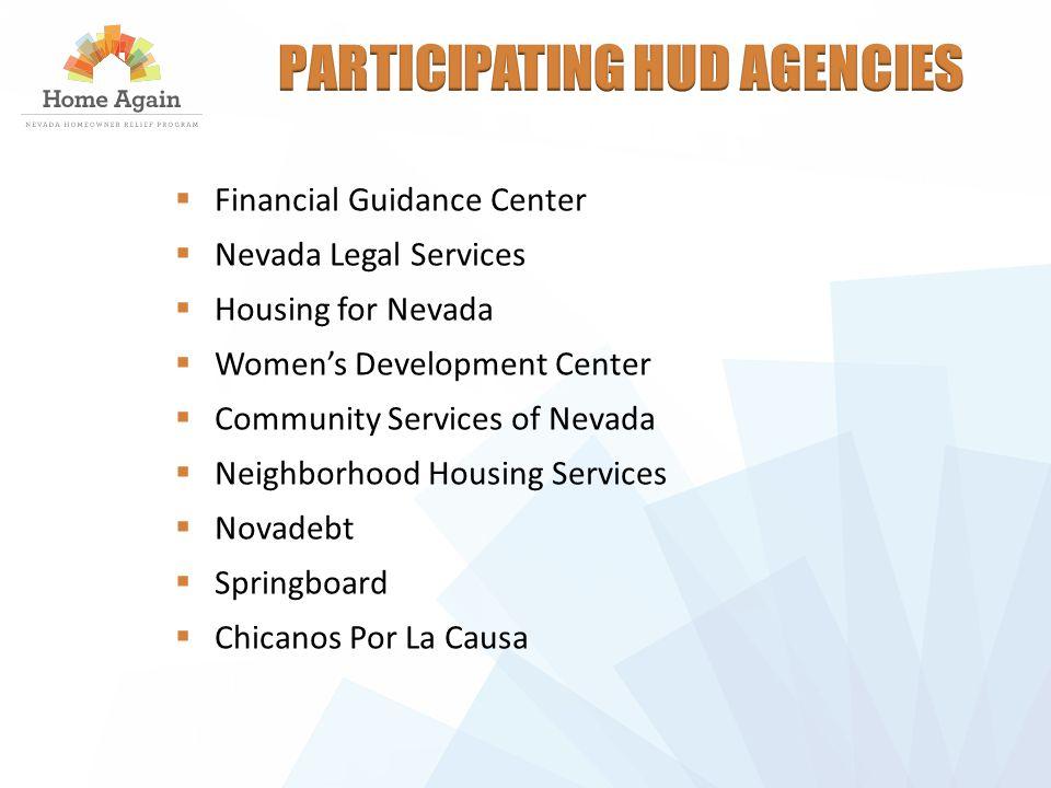  Financial Guidance Center  Nevada Legal Services  Housing for Nevada  Women's Development Center  Community Services of Nevada  Neighborhood Housing Services  Novadebt  Springboard  Chicanos Por La Causa