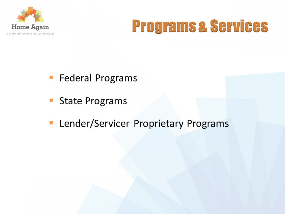  Federal Programs  State Programs  Lender/Servicer Proprietary Programs