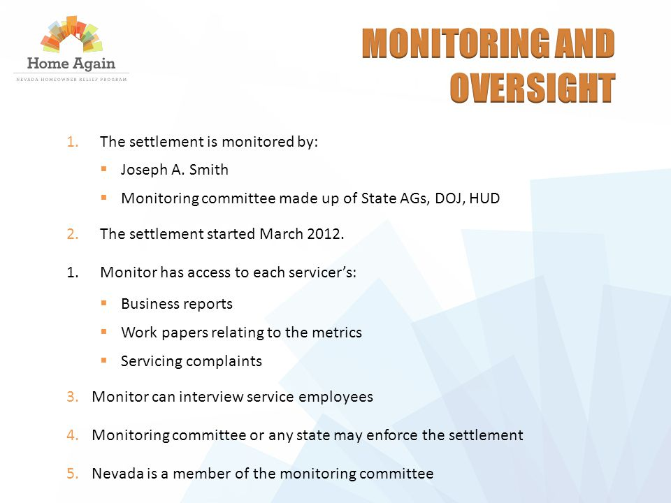 1.The settlement is monitored by:  Joseph A.