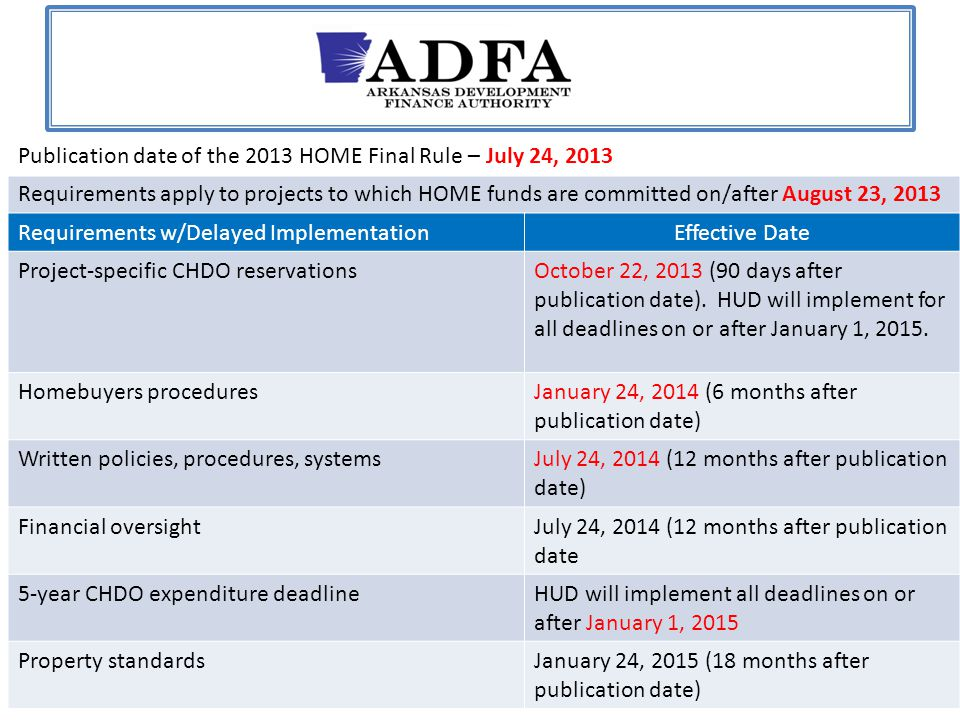 Publication date of the 2013 HOME Final Rule – July 24, 2013 Requirements apply to projects to which HOME funds are committed on/after August 23, 2013