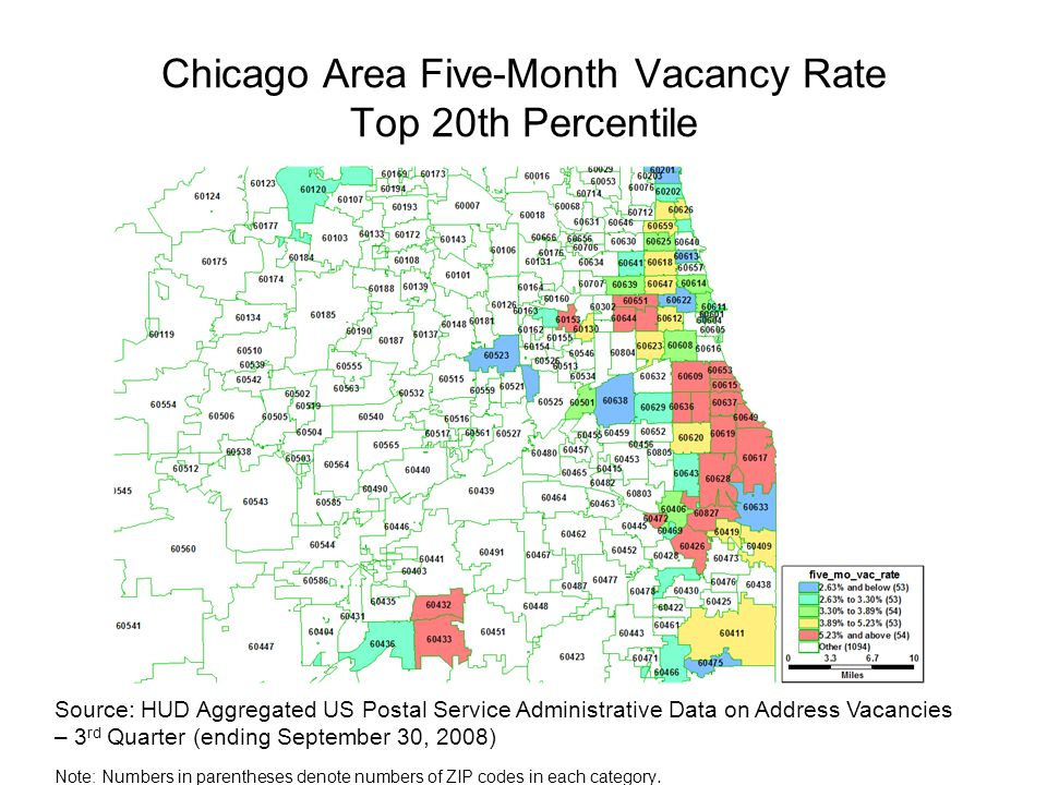 Chicago Area Five-Month Vacancy Rate Top 20th Percentile Source: HUD Aggregated US Postal Service Administrative Data on Address Vacancies – 3 rd Quar