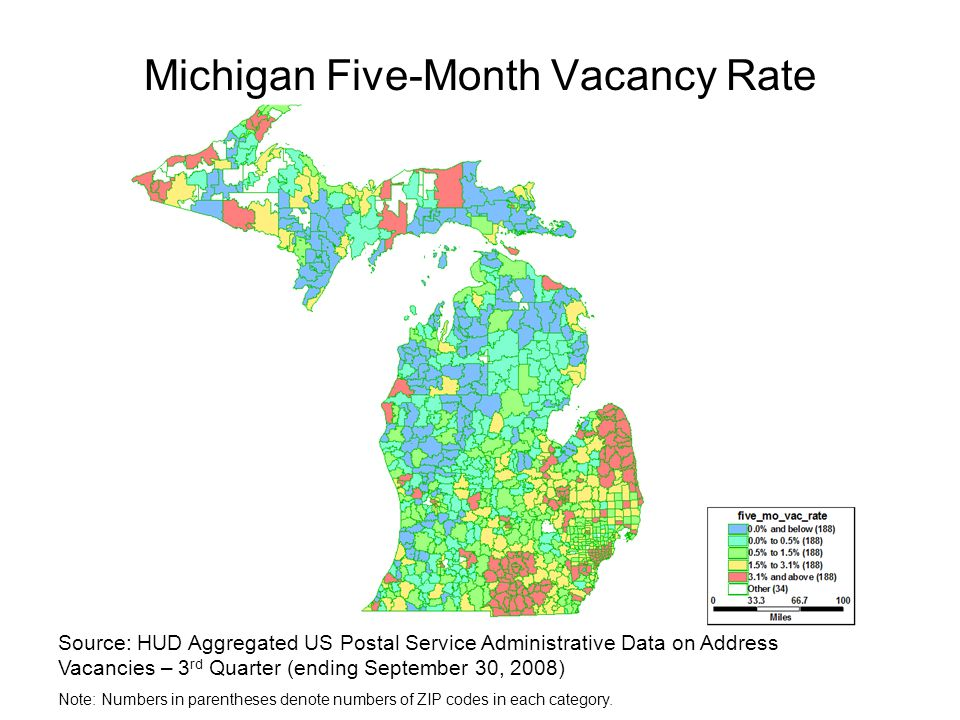 Michigan Five-Month Vacancy Rate Source: HUD Aggregated US Postal Service Administrative Data on Address Vacancies – 3 rd Quarter (ending September 30