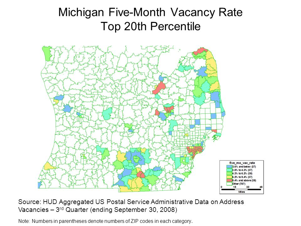 Michigan Five-Month Vacancy Rate Top 20th Percentile Source: HUD Aggregated US Postal Service Administrative Data on Address Vacancies – 3 rd Quarter (ending September 30, 2008) Note: Numbers in parentheses denote numbers of ZIP codes in each category.