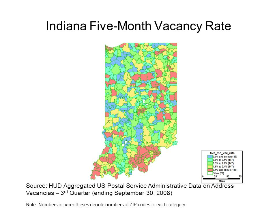 Indiana Five-Month Vacancy Rate Source: HUD Aggregated US Postal Service Administrative Data on Address Vacancies – 3 rd Quarter (ending September 30,