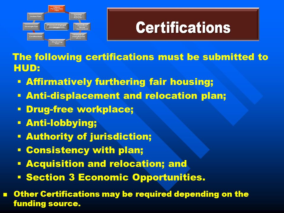 The following certifications must be submitted to HUD:   Affirmatively furthering fair housing;   Anti-displacement and relocation plan;   Drug-