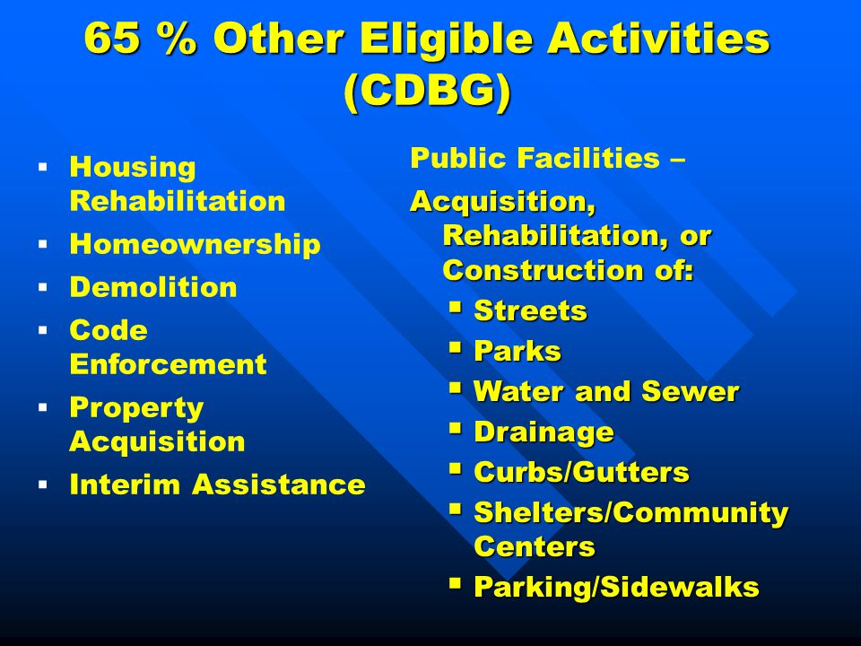 65 % Other Eligible Activities (CDBG) Public Facilities – Acquisition, Rehabilitation, or Construction of:  Streets  Parks  Water and Sewer  Drainage  Curbs/Gutters  Shelters/Community Centers  Parking/Sidewalks  Housing Rehabilitation  Homeownership  Demolition  Code Enforcement  Property Acquisition  Interim Assistance