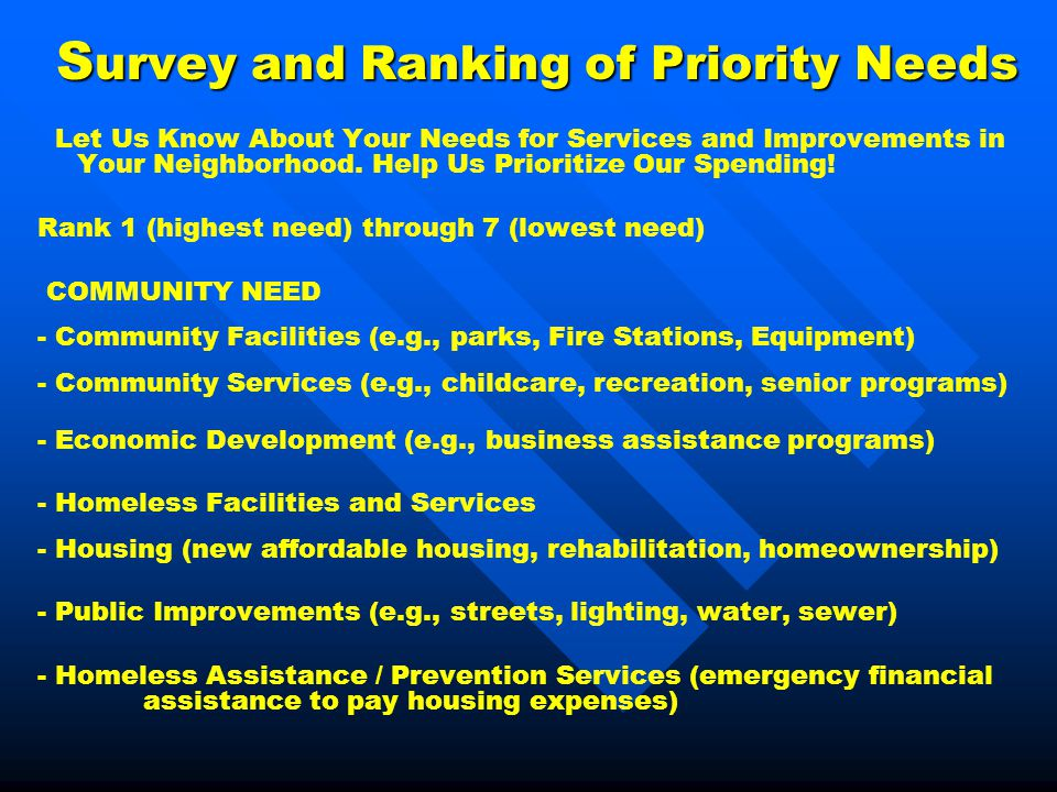 S urvey and Ranking of Priority Needs Let Us Know About Your Needs for Services and Improvements in Your Neighborhood. Help Us Prioritize Our Spending