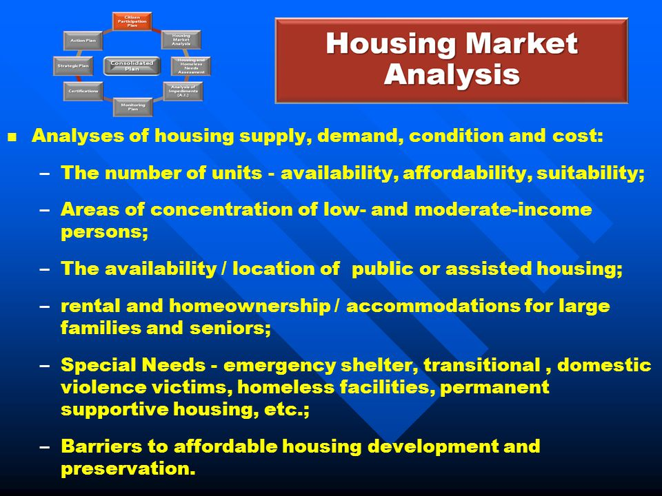 Analyses of housing supply, demand, condition and cost: – –The number of units - availability, affordability, suitability; – –Areas of concentration o