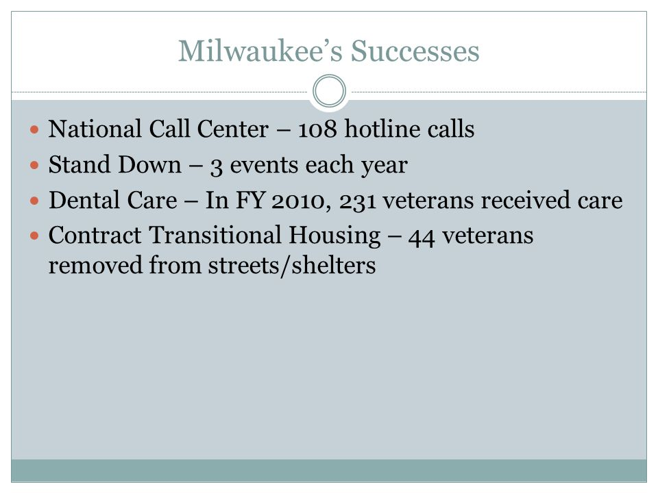 Milwaukee's Successes National Call Center – 108 hotline calls Stand Down – 3 events each year Dental Care – In FY 2010, 231 veterans received care Contract Transitional Housing – 44 veterans removed from streets/shelters