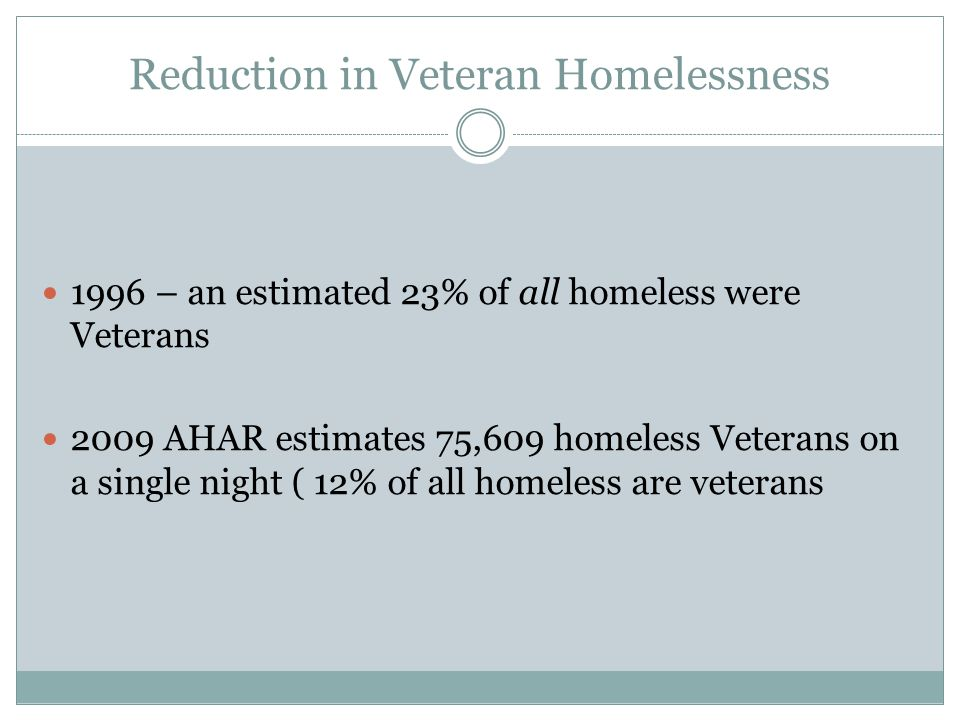 Reduction in Veteran Homelessness 1996 – an estimated 23% of all homeless were Veterans 2009 AHAR estimates 75,609 homeless Veterans on a single night ( 12% of all homeless are veterans