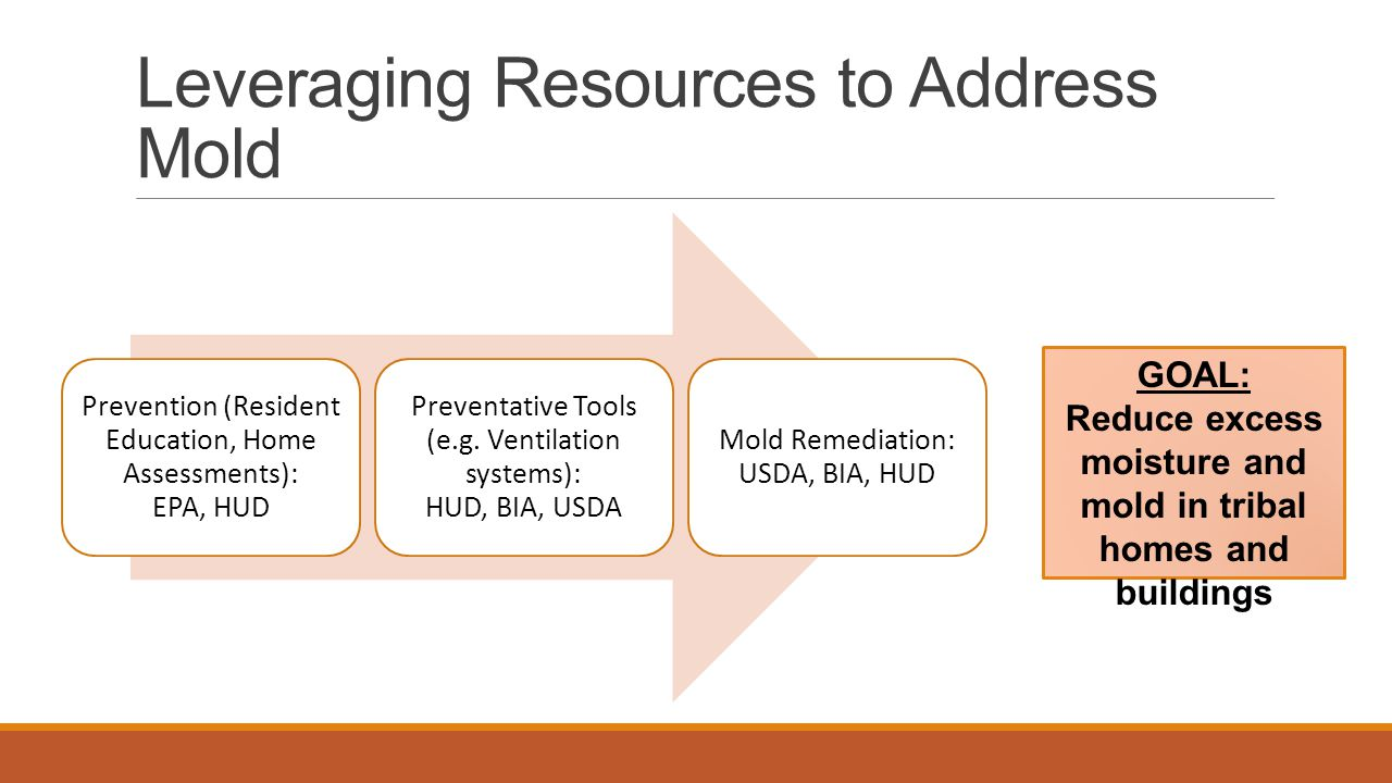 Leveraging Resources to Address Mold Prevention (Resident Education, Home Assessments): EPA, HUD Preventative Tools (e.g. Ventilation systems): HUD, B