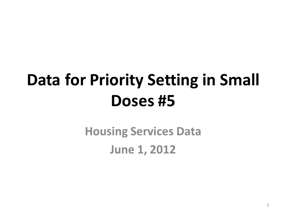 11 Data for Priority Setting in Small Doses #5 Housing Services Data June 1, 2012